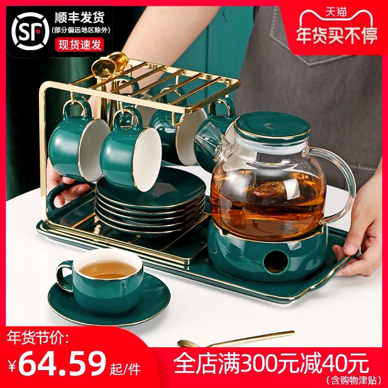 British light luxury afternoon tea flower fruit tea cup tea set flower teapot set fruit jug with filter candle heating