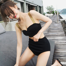 2020 Bikini two-piece conservative concealer winter hot spring swimsuit female Korean ins cover belly thin burst