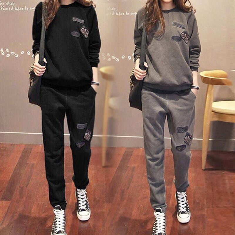 European station sports suit women autumn and winter Korean plus plus thick loose fashion age-reducing casual thick cotton two-piece set