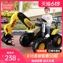 Childrens electric excavator can sit boy remote control off-road vehicle excavator engineering car hook machine charging toy car