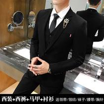 Korean version slim suit suit mens black coat handsome casual small suit groom groom wedding dress trend