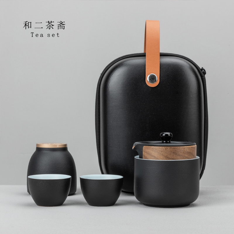 Express cup a pot of three cups two cups of single ceramic black pottery portable small bag office travel tea set customization