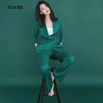 TUXEE star with the occupation spring green suit fashion suit coat wide leg pants OL two sets