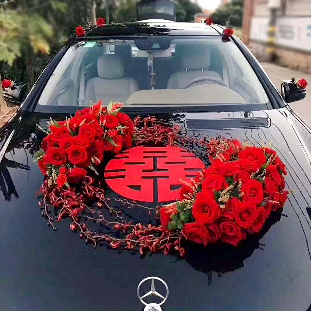 Wedding car decoration car head flower knot wedding car suction cup Chinese windflake car with mud knot wedding car flower mud sucker type net red recommended.
