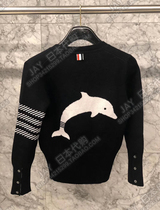 Thom Browne Japanese autumn winter TB four槓-striped dolphin embroidered mens and womens knitted cardigan jackets
