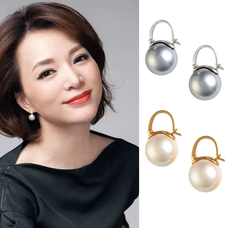 Dong Qing with the same earrings retro port style temperament simple pure silver pearl earrings women 2021 new trendy high sense