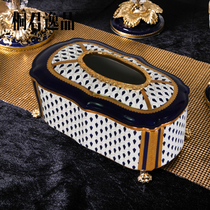 Tong Jun Yi products European-style ceramic with copper tissue box high-end luxury home living room coffee table table draw box