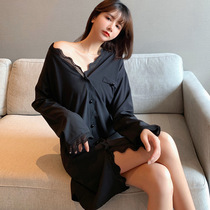 Ice silk thin sexy nightgown women Spring and Autumn long sleeve size silk shirt home clothing 2021 New