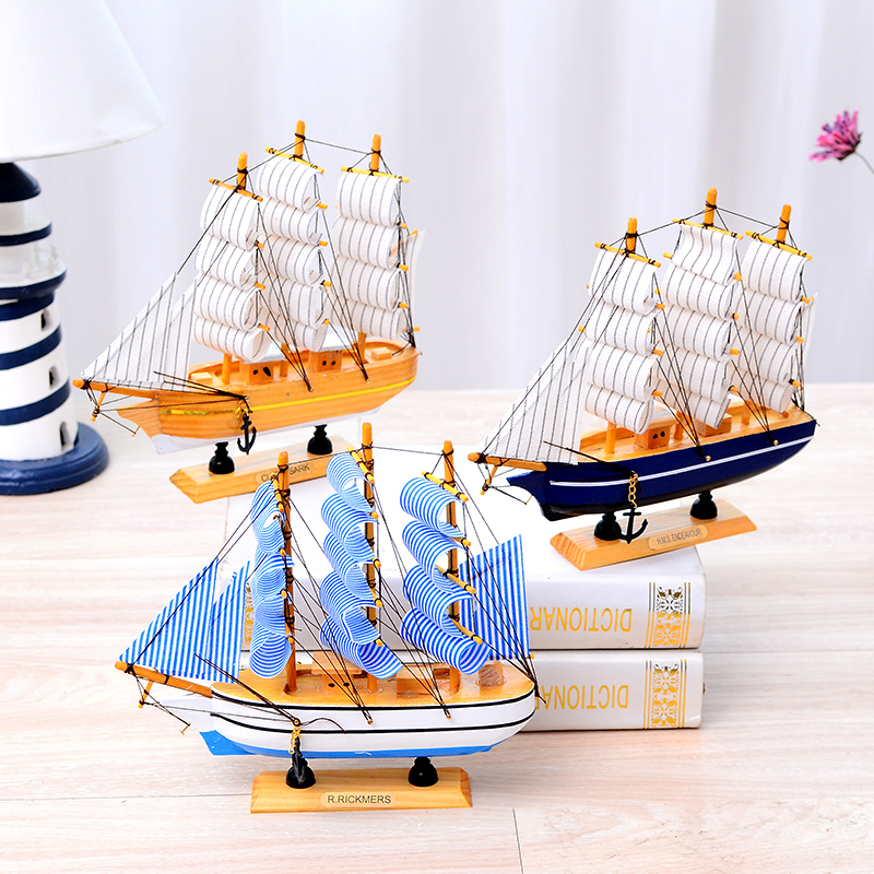 Ayadia craft ship model desktop decoration Mediterranean wooden European sailboat model wooden ship model gifts