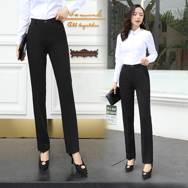 Black work work high waist thin professional straight formal suit small suit pants Womens spring and summer pants