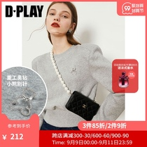 DPLAY de para 2021 early spring new fog gray pullover tide cool short diamond sweater womens top