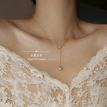 Back Hello hibiscus forest long section ancient house really Ma Pearl clavicle chain Y-shaped necklace 14k gold female