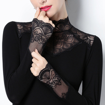 Кружевная низ рубашки стенд воротник плюс бархат блузка 2019 осень-зима половина водолазка тонкий показать тощий дикий выдалбливают блузка с длинными рукавами
