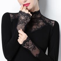 Lace bottom shirt collar inside the top 2020 autumn dress plus velvet semi-high collar body hundred hollow sweater long sleeves
