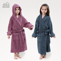ff262117f4 A class of cotton towel material childrens bathrobe with cap removable male  and female children extended