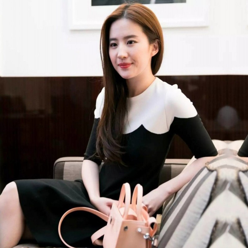 Liu Yifei star with the 20 autumn and winter French elegant temperament famous medium-length version knitted thin inner dress