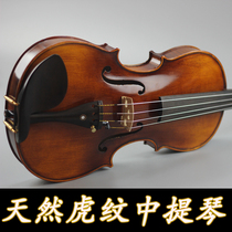 High-grade all-hand natural tiger pattern Viola adult Beginner stage playing small viola 15 inch 381