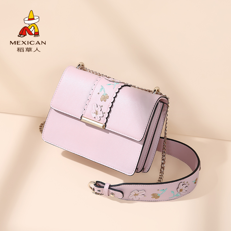 Scarecrow bag female bag 2018 autumn new female shoulder Messenger bag fashion small clear chain bag small square bag