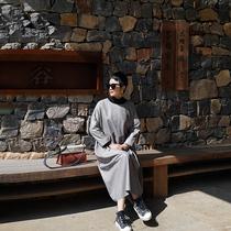 MEET Golden heritage New Zealand light coated sheepskin ultra-thin leather long leather loose dress womens autumn
