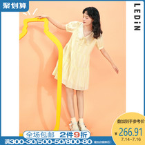 (New product)Le-cho temperament lapel dress 2021 new summer womens embroidered lapel dress