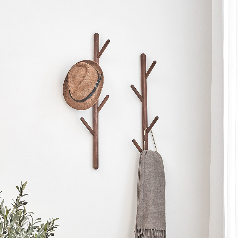 Hook solid wood hanger wall hanging entry xuan off the wall without punching Nordic creative style dressing room door back wood