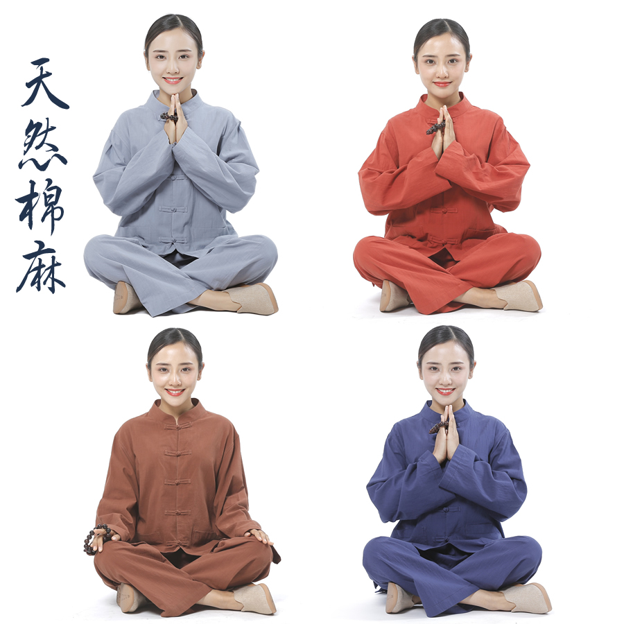 Cuss clothing meditation clothes men and women with the same pure cotton and linen suit Zen Tanghai youth summer and autumn Chinese wind Buddha system