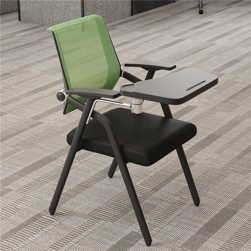 Training chair with table board Folding conference chair Writing board Simple backrest Student table and chair Office conference room chair