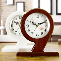 Modern minimalist living room clock Chinese clock super quiet creative clock bedroom small bedside clock wooden decoration
