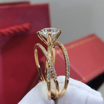 Imported Mosang stone diamond ring Female three life three ring 18K white gold Mosang diamond rose gold 1 carat inlaid ring