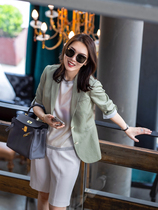 MARIUS high-end commuter sunscreen air conditioning shirt imported triacetic acid linen blend seven-point sleeve suit womens summer thin