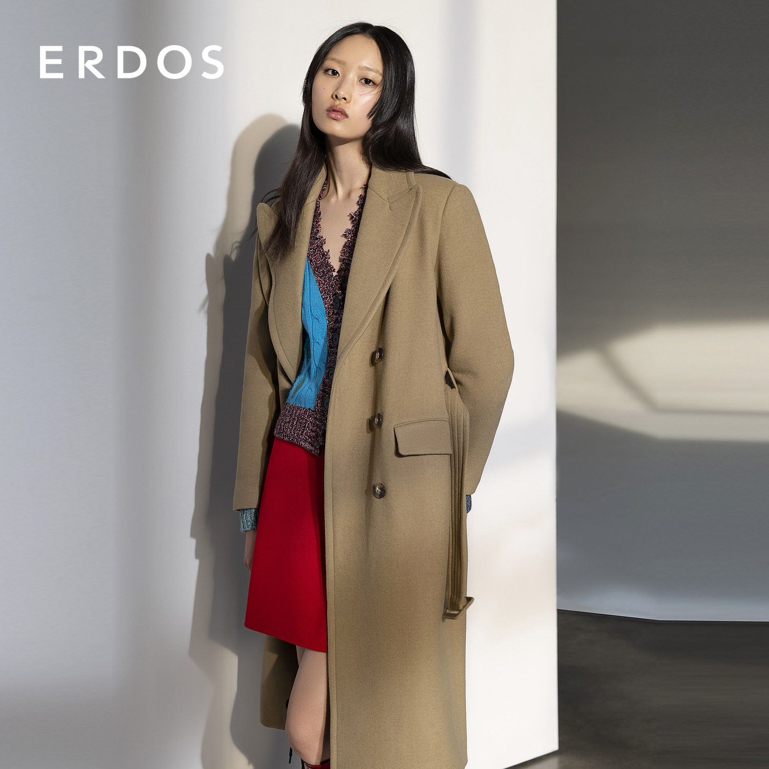 ERDOS Fore collar Womens long cashmere coat Belt waist wool coat Commuter OL wind