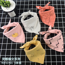 Baby double cotton Spit towel baby triangle towel boy girl increase double press buckle bib waterproof autumn winter