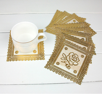 Decorative Small gold PVC Mat cup pad insulation pad 10 pieces
