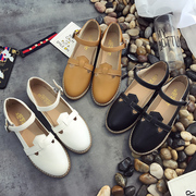 2017 summer new Korean flat sandals female Rome all-match thick bottom shoes Baotou shoes tide British students