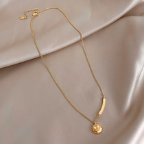 Hong Kong (designer)RVY 2021 new necklace female smiley cold collarbone necklace simple pendant tide