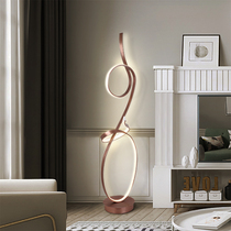 Net red floor lamp Nordic minimalist personality creative living room study bedroom remote control LED lamp vertical new