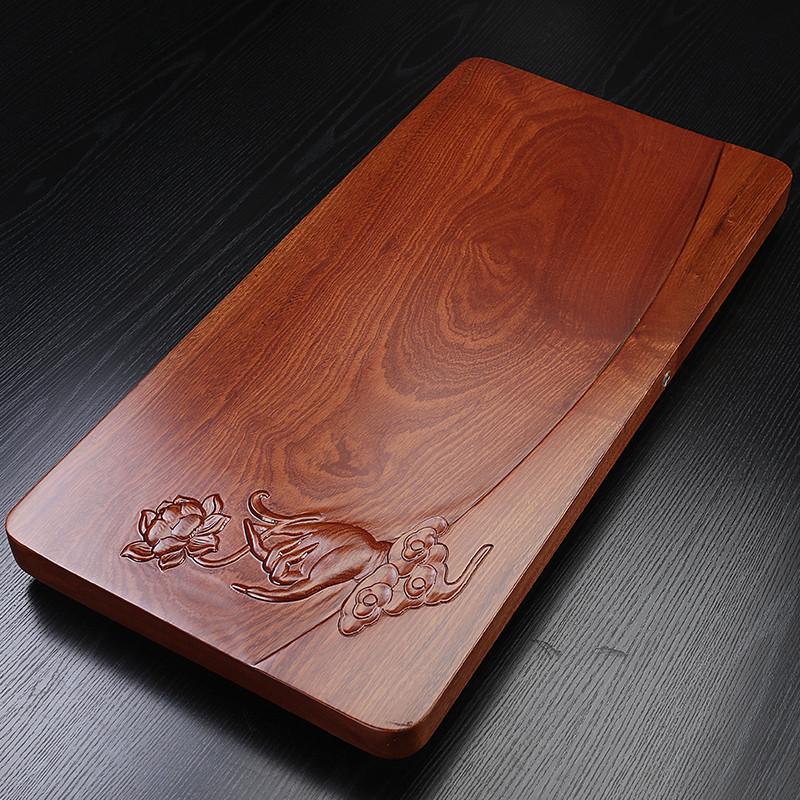 Flower pear wood tea plate whole block solid wood home kung fu tea table large simple drain tea sea tray