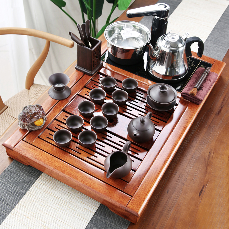 Kung Fu tea set home redwood solid wood small tea plate living room office flower pear wood chicken wing wood fully automatic