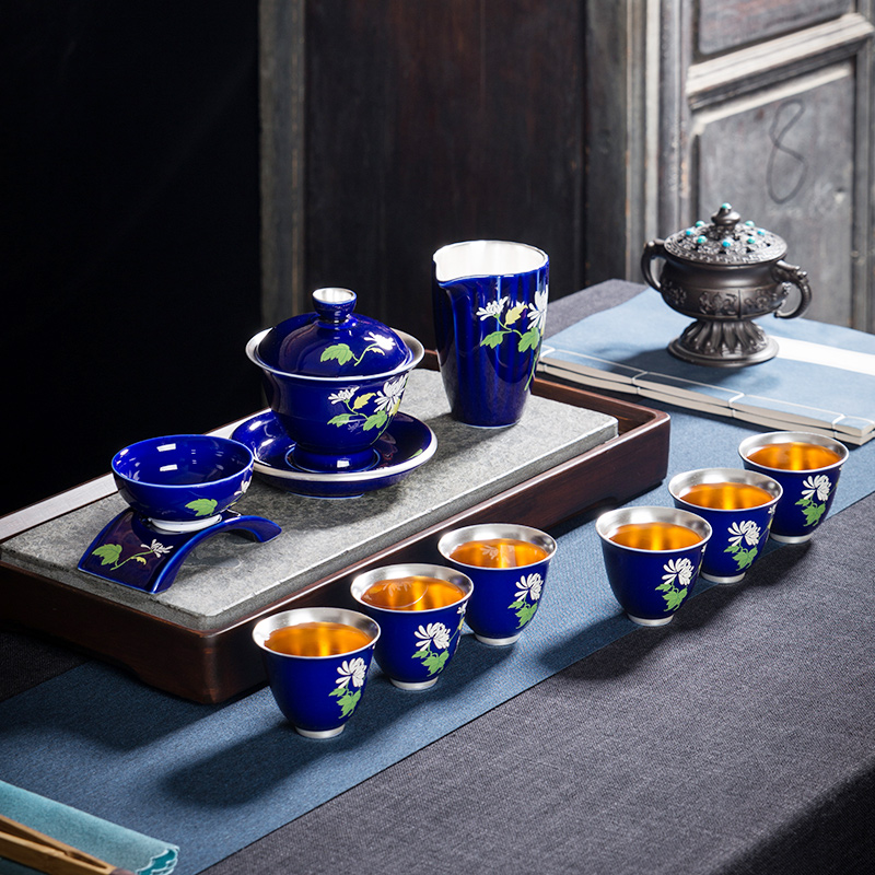 Ceramic silver blue tea set home silver kung fu tea set teapot teapot group gift box