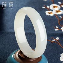 Xinjiang and Tian Baiyu bracelet female sheep fat jade bracelet girl natural jade bracelet gift to mother preferred