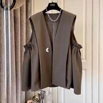 Designer pea buckle ~ Korean version of loose casual pleated umbrella A- shaped suit vest vest female 2021