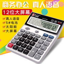 Send battery Accounting calculator Voice big button multifunction Finance Office computer Small portable large screen can play music metal panel variety Optional