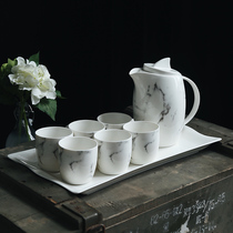 Marble Ceramic Water Cup set home living room cup tea cup with water set heat-resistant cold kettle