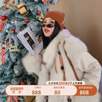M family on both sides wear Finnish imported fox fur grass pike coat womens long lapel young coat