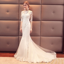 A word shoulder marriage Korean version show thin tail small tail wedding dress
