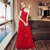 Bride toast dress 2017 new fashion single shoulder wedding engagement back dress red long evening gown autumn winter