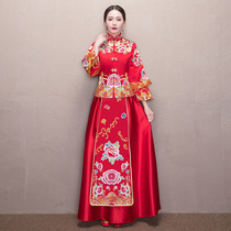Xiu wo clothing bride 2017 new chinese wedding dress gown toast Clothes show kimono dragon coat autumn and winter