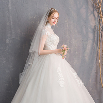 Han Xi Princess Palace show thin collar retro simple wedding dress