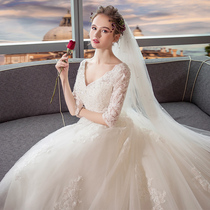Long drag tail Europe and America show thin V-neck maternity shoulder wedding dress