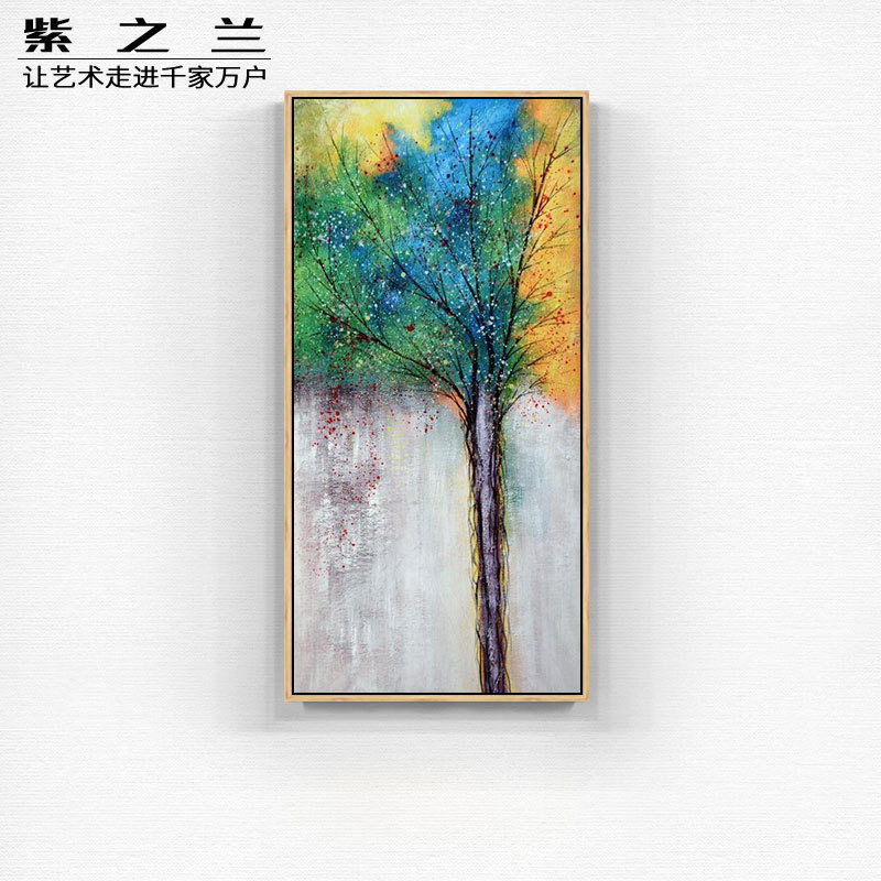 Modern concise porch decorative paintings vertical prints into the corridor of the corridor hanging murals Abstract rich tree hand-painted oil painting